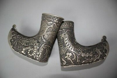 Chinese Collection Ethnic Miao Silver Handmade Carve Dragon phoenix Shoes boots
