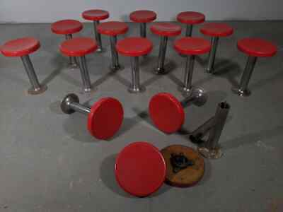 Vintage Art Deco Style 1950s 60s Chrome Swivel Diner Stools Soda Fountain Bar