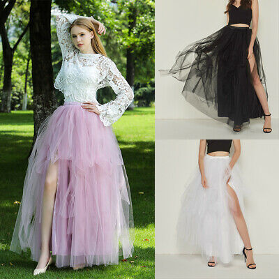 Sexy Women Elastic Skirt High Waist Irregular Mopping Tulle Skirts Tutu Dress