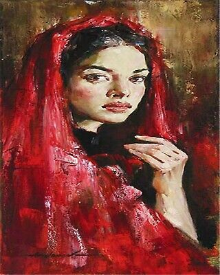 with Red Scarf Lady in Red Collection 1 - Van-Go Paint-By-Number Kit