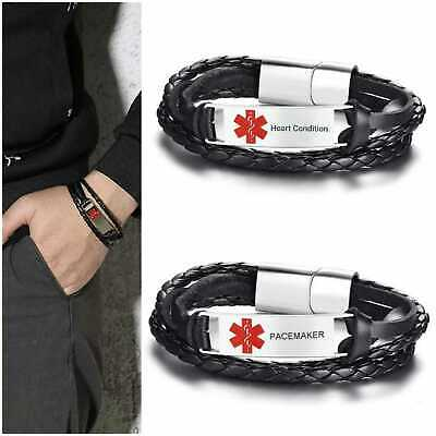 Heart Condition Pacemaker Medical Alert Bracelet Stainless Steel Leather Silver
