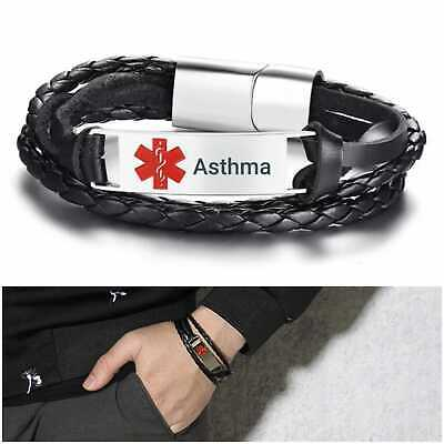 Asthma Asthmatic Medical Alert Bracelet Stainless Steel Leather Silver Tone