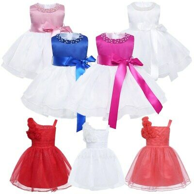 Baby Bowknot Gown Flower Girl Dress Party Wedding Christening Toddler Dresses