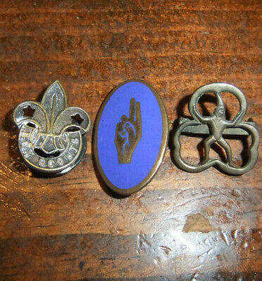 Three Old Brass Badges, Two Girl Guide & One Boy Scouts