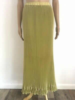 Lilith France Sz S Chartreuse Accordion Pleat Maxi Skirt Pull On Shimmer Stretch