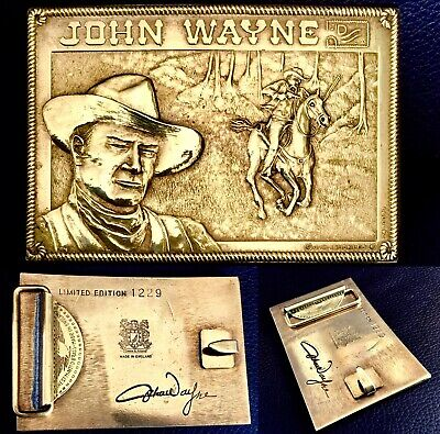 Rare Signed Patented (1970s) Limited Edition John Wayne Brass Belt Buckle (130g)