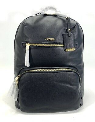 "Tumi Black Leather Halle Backpack Goldtone Hardware Fits 12"" Laptop or Tablet"