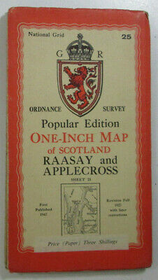 1947 Old OS Ordnance Survey One Inch Popular Edition Map 25 Raasay & Applecross