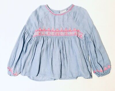 Matalan Girls Blue Top Blouse Age 7 / 12 Years Long Sleeve Floral NWT Defect