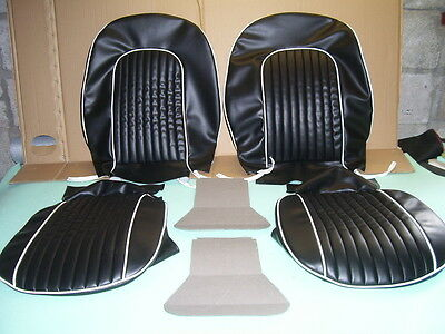 triumph spitfire SEAT COVERS.new mk.3. in black & white pipings..fits 1965 to 70
