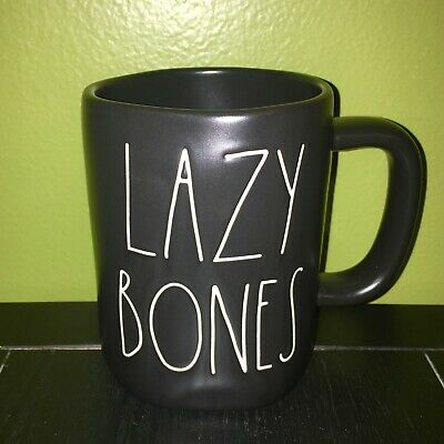 "RAE DUNN Halloween LL ""LAZY BONES"" Black Mug Without Skellingtons By Magenta"
