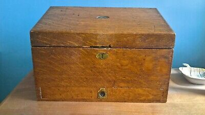 Antique Oak Writing Paper Storage Box With Drawer