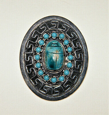 "Egyptian Revival ""SILVER 1000"" TURQUOISE SCARAB PIN/BROOCH & PENDANT Greek Key"