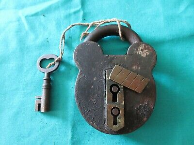 RARE antique PADLOCK with Working Key  MICKEY MOUSE EAR SHAPE Hidden Key Hole