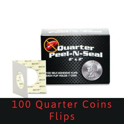 100 BCW Peel-N-Seal 2x2 Self Adhesive Flips Quarter Coins Archival Clear Holders