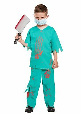 BOYS FANCY DRESS BLOODY DOCTOR HALLOWEEN HORROR COSTUME SCARY ZOMBIE PARTY