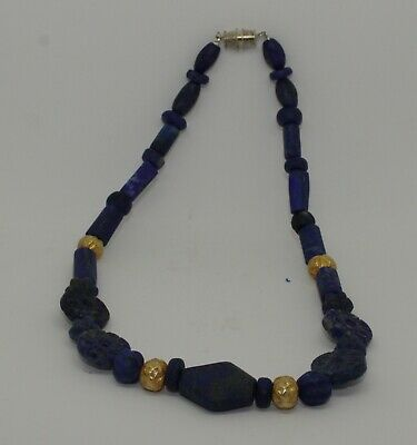 Ancient Lapis & Gold Bead Necklace - 78