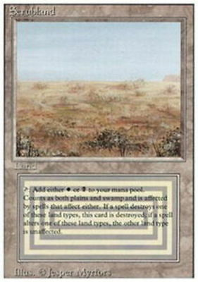 1x Damaged Scrubland MTG 3rd Edition/Revised -ChannelFireball-