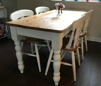 Antique Pine Farmhouse table and four chairs