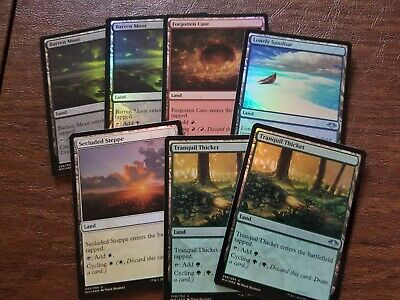 Magic the Gathering Modern Horizons Foil Cycling Lands x7 - One of Each+ NM