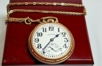 Antique Illinois Bunn Special 21 Jewel Pocket RR Watch in 10K Gold-Filled Case