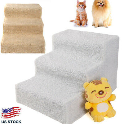 Portable 3 Steps Pet Stairs Climb Dog Ladder w/ Cover Cat Ramp Steps Stair Sofa