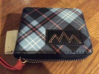 Mens Full Zipped Multi Blue Checked Wallet