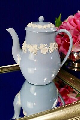 Wedgwood Queensware Embossed Cream and Lavender Blue Coffee Pot & Lid