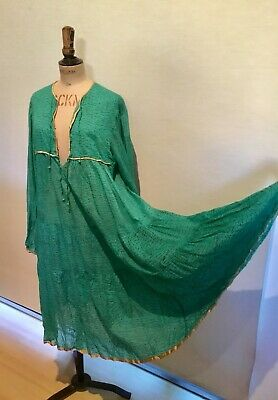 Vintage Indian cotton gauze 1970s original Adini dress M Festival/boho