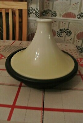 LE CREUSET CAST IRON LARGE CONE TAGINE & LID ALMOND & BLACK 27cm COST £210
