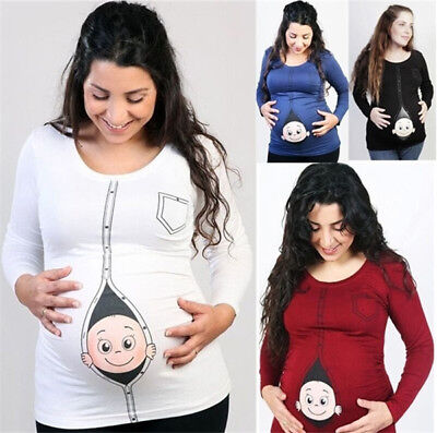 Pregnant Women Cute Print Long Sleeve Shirt Maternity Tee Tops Blouses Plus Size