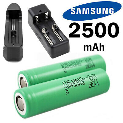 Samsung INR 18650 25R 2500mAh/20Amp Flat Top Rechargeable Battery / Charger LOT