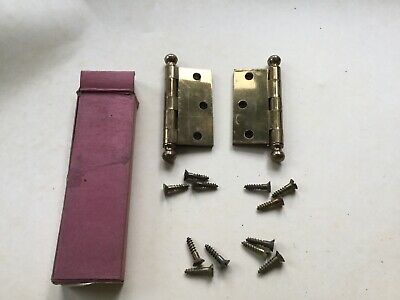 """Pair Cabinet Hinge Solid Brass Ball Tip 2 1/2"""" x 2 1/2"""" USA New Old Stock."""