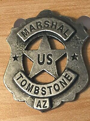 Badges Of The Old West Replica, Tombstone Marshal, Badge, Antique Silver