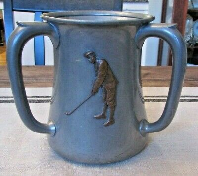 Antique Reed Barton Mixed Metal Copper Silver Pewter Golf Trophy Loving Cup 1800