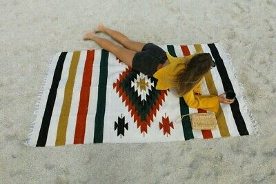 Mexican Blanket Vintage Style XL Diamond Ivory White Black Green Orange Yoga