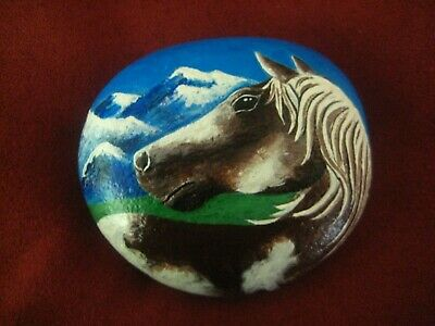 "Hand Painted River Rock Stone 'Paint Horse'  Horse Art  By ""Kat"" River Rocks"