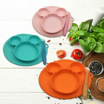 Silicone Cushion Baby Plate with Spoon Set Kid Infant Dining Dishes Feeding Bowl