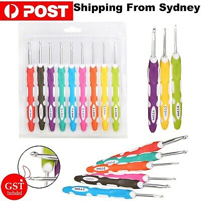 9Pcs/Set Multi Coloured Aluminum Crochet Hooks Yarn Knitting Needles Kit Tools A