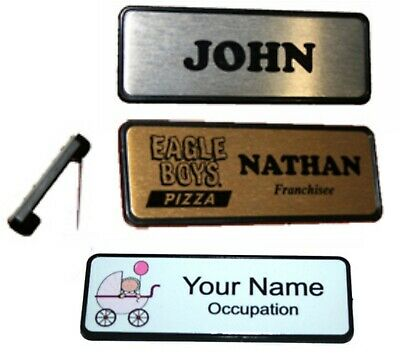 Personalised NAME BADGE PIN BACK 7.6x2.5cm Name tag WORK BADGES custom name logo
