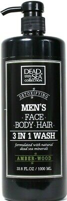 1 Dead Sea Collection 33.8 Oz Men's Amber Wood Detox Face Body Hair 3 In 1 Wash