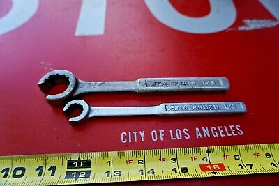 2 pc Vintage Proto Los Angeles 7/8'' & 1/2'' Flare Nut Wrenches 12pt. MFD USA
