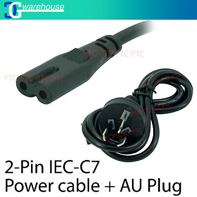 2 Pin Core Figure 8 IEC-C7 AC Power Cord Cable Lead AU Plug 1.5m Fully Tested