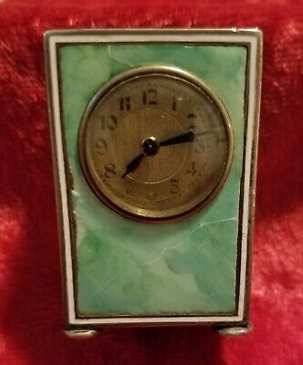 Antique Miniature Sterling Silver & Enamel Carriage Clock