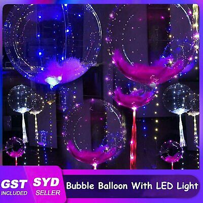 2M 20 LED With 40cm Round Clear Bubble BOBO Balloon Light up Led Party String AU