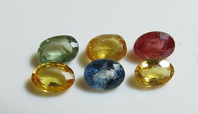 6pc FANCY COLOR NATURAL SAPPHIRE faceted OVAL CUT LOOSE GEMSTONES BLUE RED GREEN