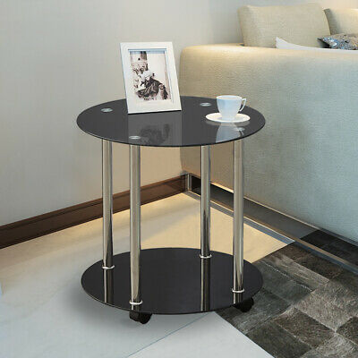 2 Tier Black Glass Round Side End Table With Wheels Coffee Table Chrome Frame