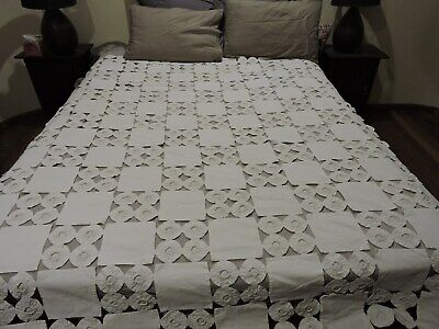 Antique Bed Cover Quilt Patch Work Rossette White Queen Size