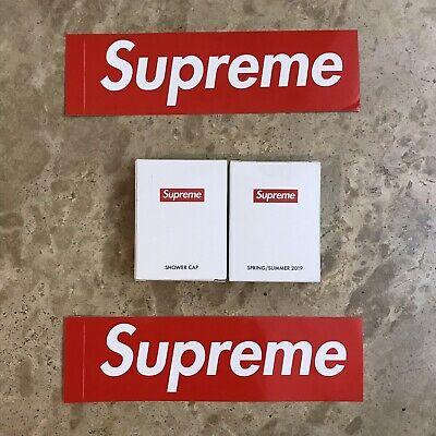 Supreme Shower Cap x 2 Ss19 and box logo stickers