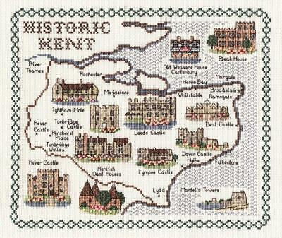 Map & Sights of Historic Kent - Classic 14ct Counted Cross Stitch Kit